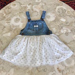 OshKosh B'Gosh Denim & Tulle Overalls Dress